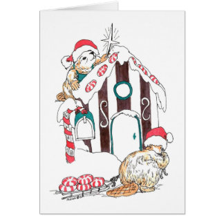 Whimsical Beaver Chalet Decorating Christmas Card