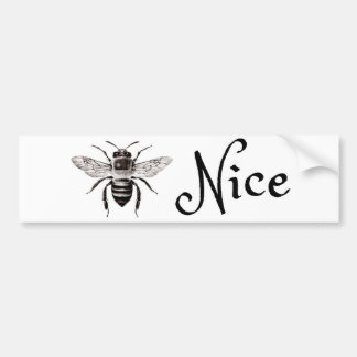 Whimsical Bee Nice Bumper Sticker