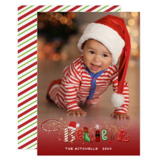 Whimsical BELIEVE, Gold Sparkle Accent - 1 Photo Card