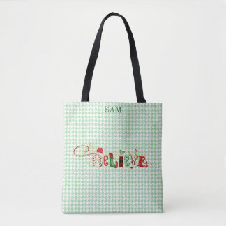 Whimsical BELIEVE Green Front Red Back Houndstooth Tote Bag