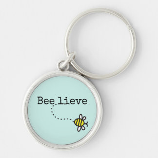 """Whimsical """"Believe"""" Quote Bumble Bee Key Ring"""