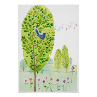 whimsical bird singing Watercolor Poster