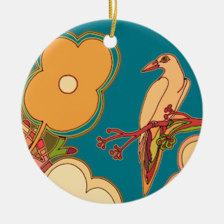 Whimsical Birds (Any color you pick!) Ceramic Ornament