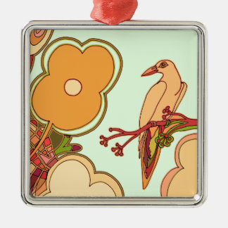Whimsical Birds (Any color you pick!) Metal Ornament