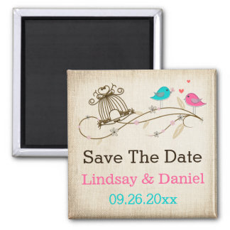 Whimsical Birds in Love Save The Date Magnet