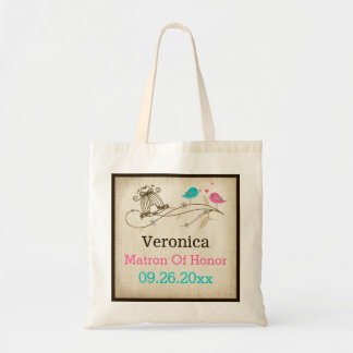 Whimsical Birds in Love Wedding Attendant Tote