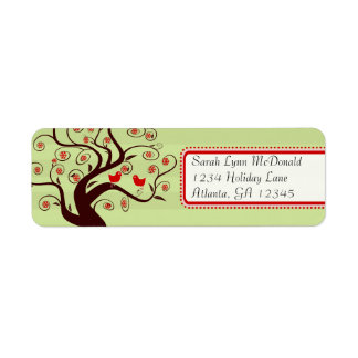 Whimsical Birds Tree Green Stripe Red Pink Trim Return Address Label