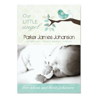 """Whimsical Birth Announcement Photo card 5"""" X 7"""" Invitation Card"""