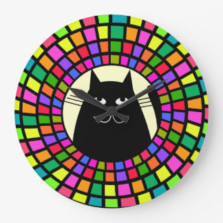 Whimsical Black Cat Clock Mosaic Style Art 2