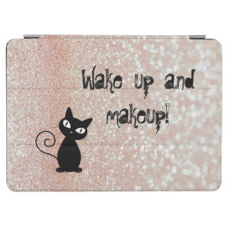 Whimsical  Black Cat Glittery-Wake up and makeup iPad Air Cover