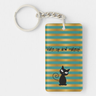 Whimsical  Black Cat,Stripes-Wake up and makeup Keychain