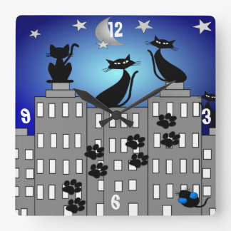 Whimsical Black Cats and Retro Buildings Clock