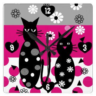 Whimsical Black Cats Art Clock
