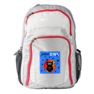 Whimsical Black Owl Sitting on the Moon Backpack