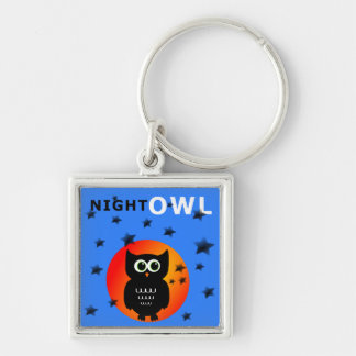 Whimsical Black Owl Sitting on the Moon Silver-Colored Square Keychain