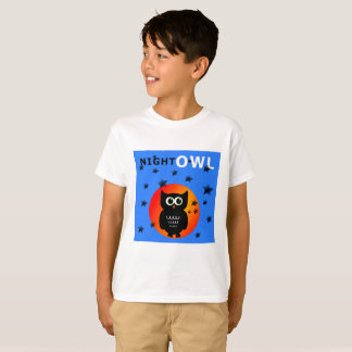 Whimsical Black Owl Sitting on the Moon T-Shirt
