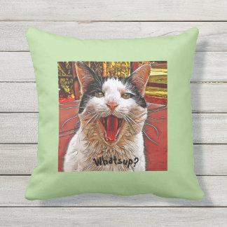 Whimsical Black White Cat Mouth Wide Open WHATS UP Throw Pillow