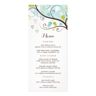 Whimsical Blue and Chartreuse Lovebirds Menu Card Rack Card