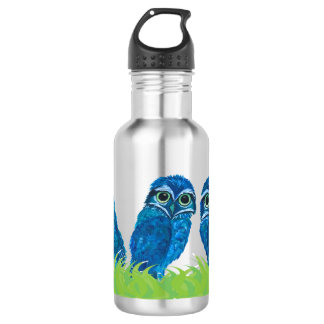 Whimsical Blue and Green Burrowing Owl Art 532 Ml Water Bottle