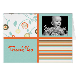 Whimsical Blue and orange Baby Thank you card