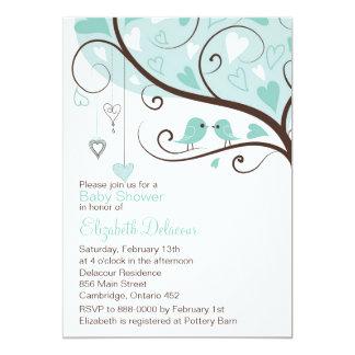 Whimsical Blue Birds Baby Shower Invitation