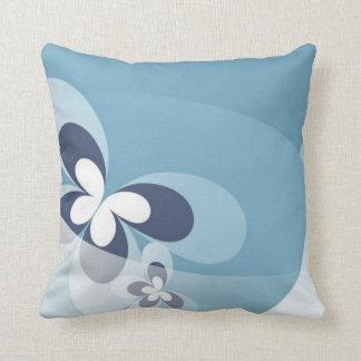 Whimsical Blue Butterfly Swirls Pillow