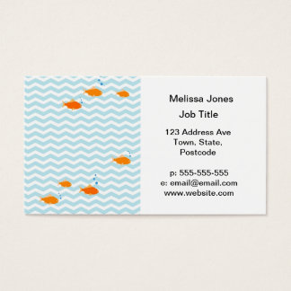 Whimsical Blue chevron with gold fish Business Card