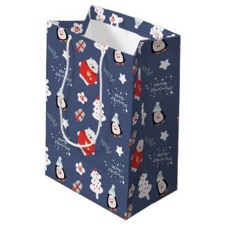 Whimsical Blue Christmas Critters Pattern Medium Gift Bag