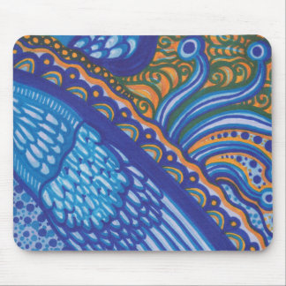Whimsical Blue Feathers and Lace Mousepad