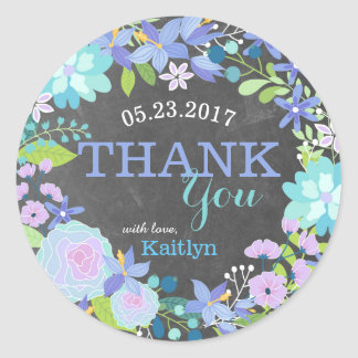 Whimsical Blue Floral Wreath Chalkboard Thank You Round Sticker