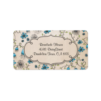 whimsical blue flowers on beige label