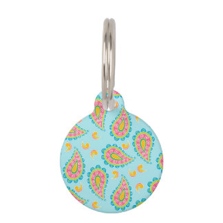 Whimsical Blue Paisley Pet Tag