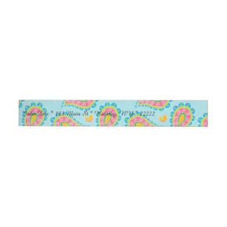Whimsical Blue Paisley Wraparound Address Label