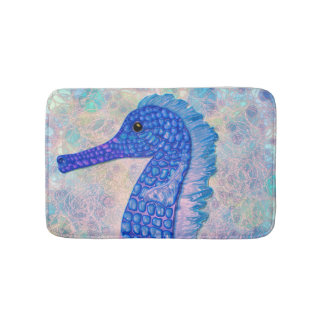 Whimsical blue seahorse with bubbles bath mat