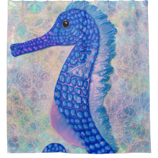 Whimsical blue seahorse with bubbles shower
