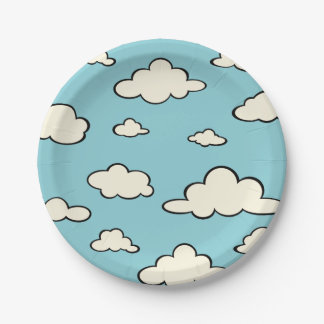 WHIMSICAL BLUE SKY CLOUD PATTERN PAPER PLATE