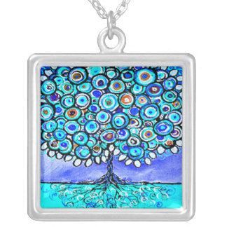 Whimsical Blue Tree Art Pendant Necklace