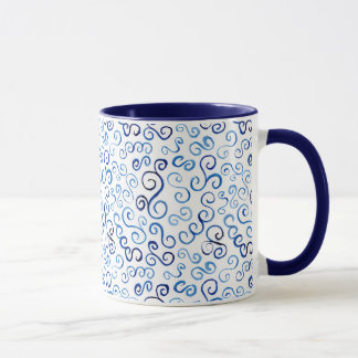 Whimsical Blue Watercolor Curves Mug