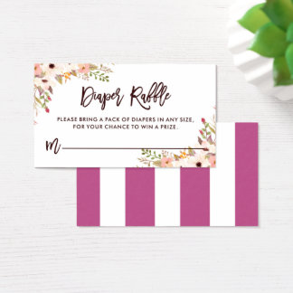 Whimsical Bohemian Floral Accents Diaper Raffle Business Card