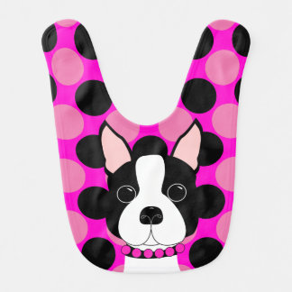 Whimsical Boston Terrier Polka Dots Baby Bib
