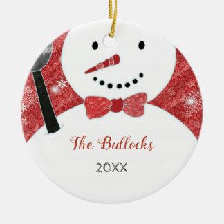 Whimsical Bow Tie Christmas Snowman Ceramic Ornament