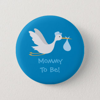 Whimsical Boy Stork Baby Shower 2 Inch Round Button