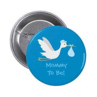 Whimsical Boy Stork Baby Shower 2 Inch Round Button