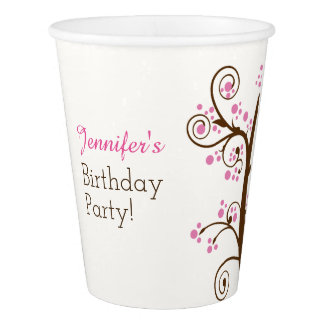 Whimsical Branch and Berry Birthday Party Paper Cup