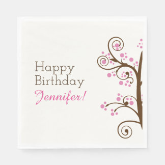 Whimsical Branch and Berry Birthday Party Paper Napkin