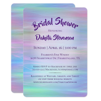 Whimsical Bridal Shower Iridescent Pastel Rainbow Card