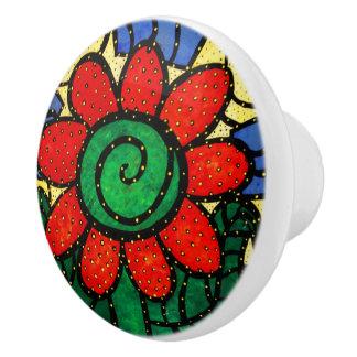 Whimsical Bright Red Flower Ceramic Knob