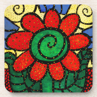 Whimsical Bright Red Flower Coaster