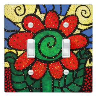 Whimsical  Bright Red Flower Light Switch Cover