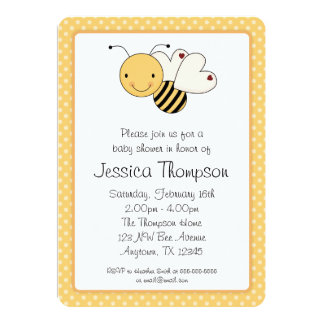 "Whimsical Bumble Bee Polka Dots Baby Shower 5"" X 7"" Invitation Card"